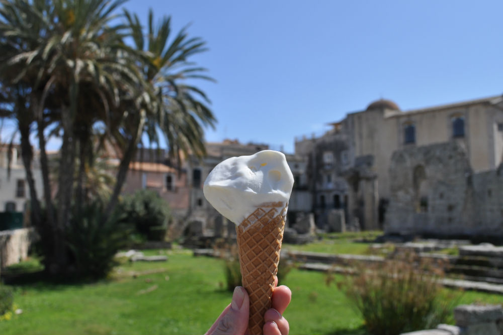 Gelato among ancient temples in Syrcuse, Sicily.