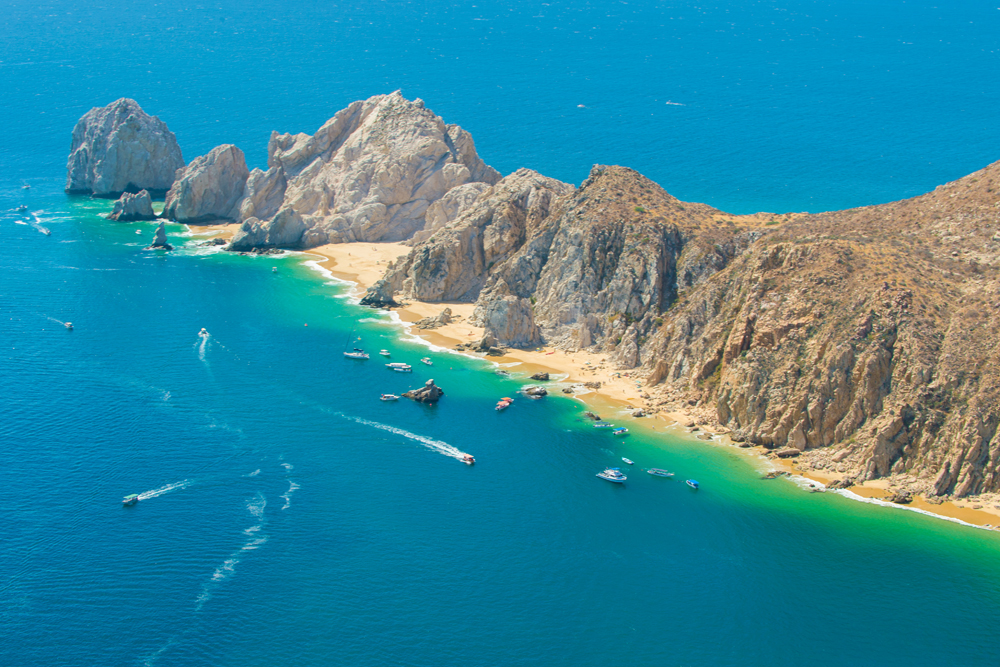 Ariel view of Lands End and Lovers beach, Cabo San Lucas, Mexico
