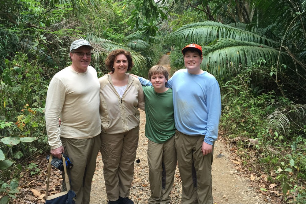 Wendy and her family, in mosquito-resistant clothing, in the rainforest of Panama last month.