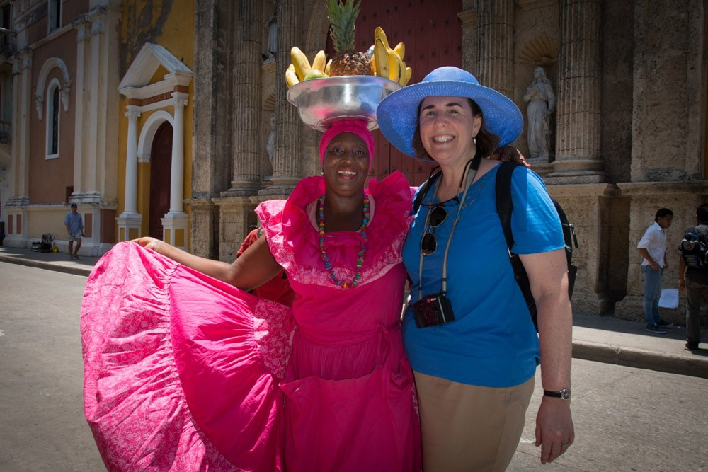 Wendy and a new friend in Cartagena, Colombia, last month.