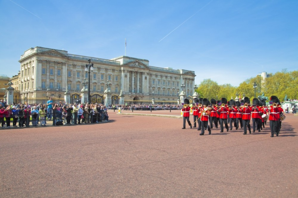 Buckingham Palace with guards London