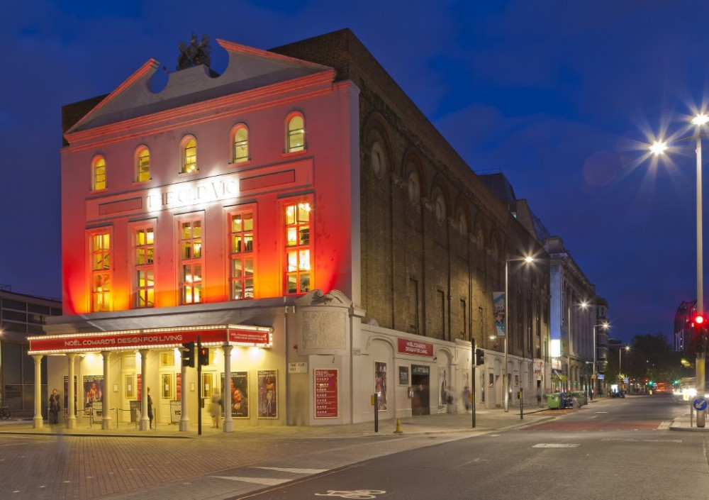 Old Vic theatre exterior at night London