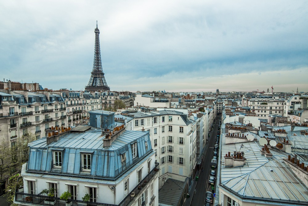 view of Paris with Eiffel Tower