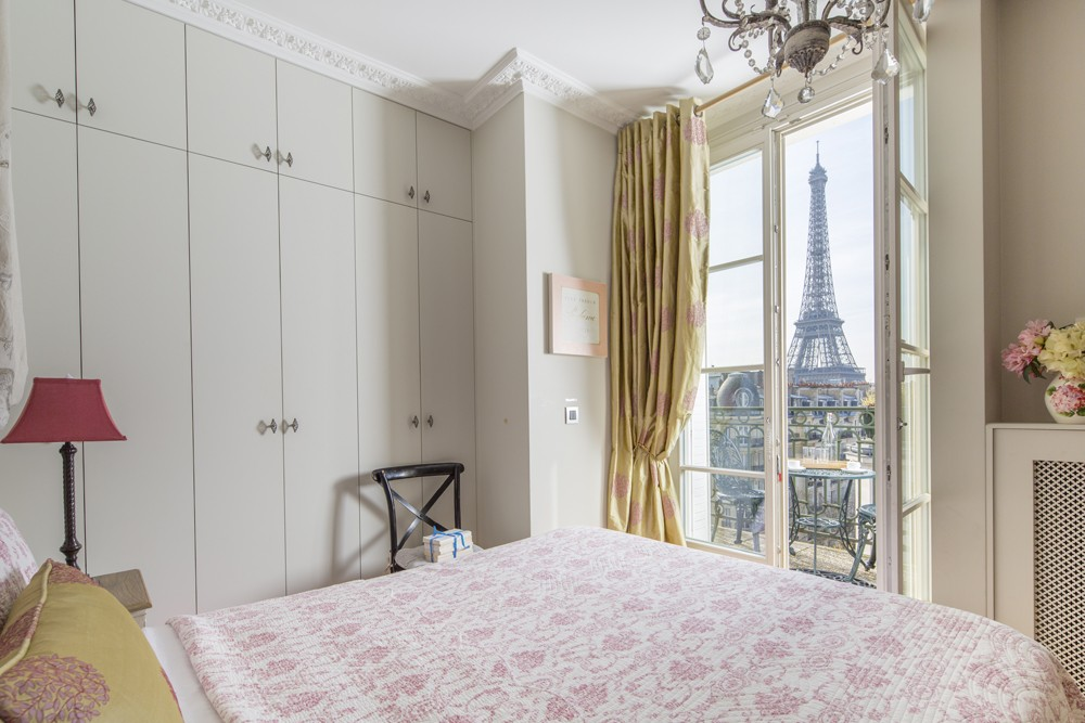 paris vacation rental with view of eiffel tower from bedroom