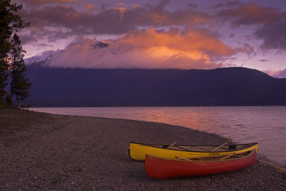 canoes on the beach in british columbia canada