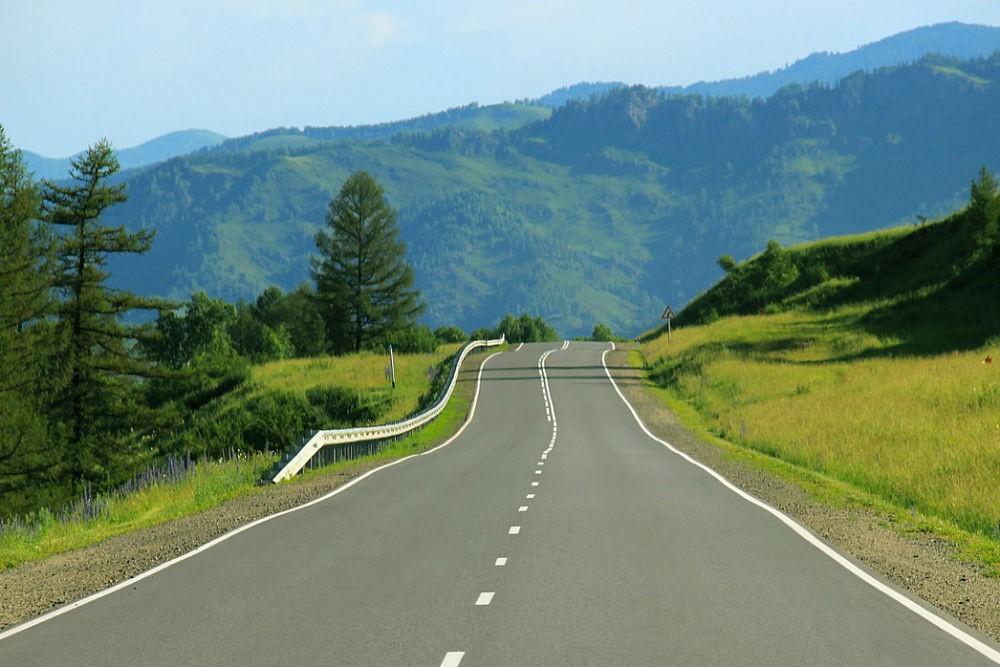 road trip through green mountains