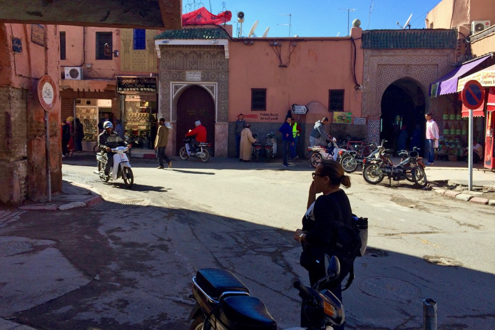 Off we go to the souk to find materials to make the jacket.