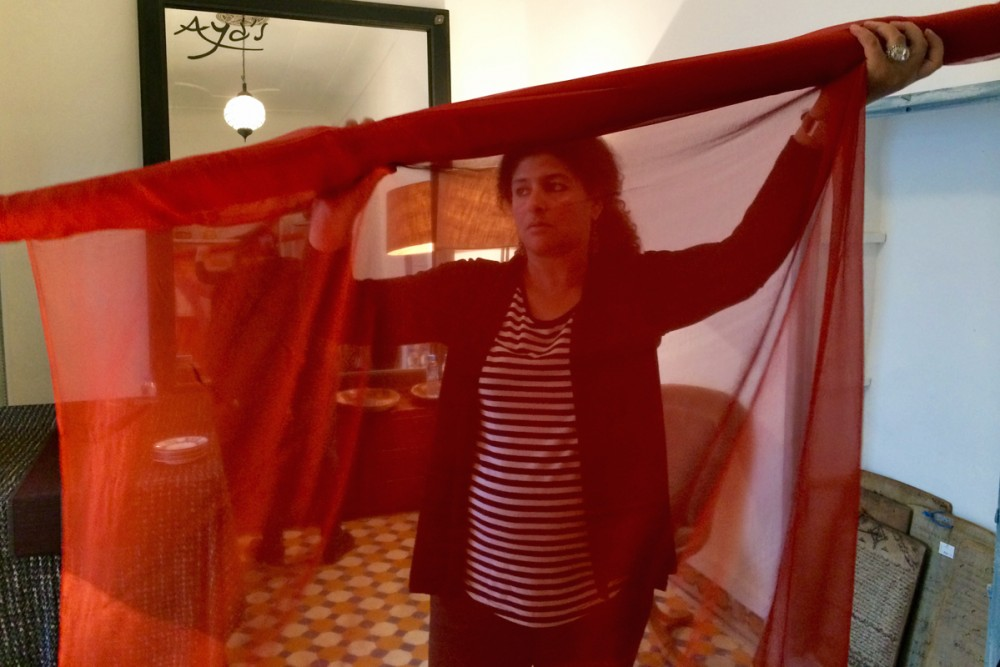 Nawal keeps plenty of fabrics in her boutique too.