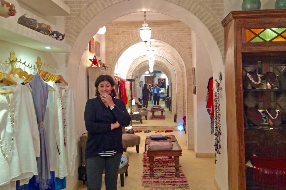 Fashion designer Nawal El Hariti in her boutique.