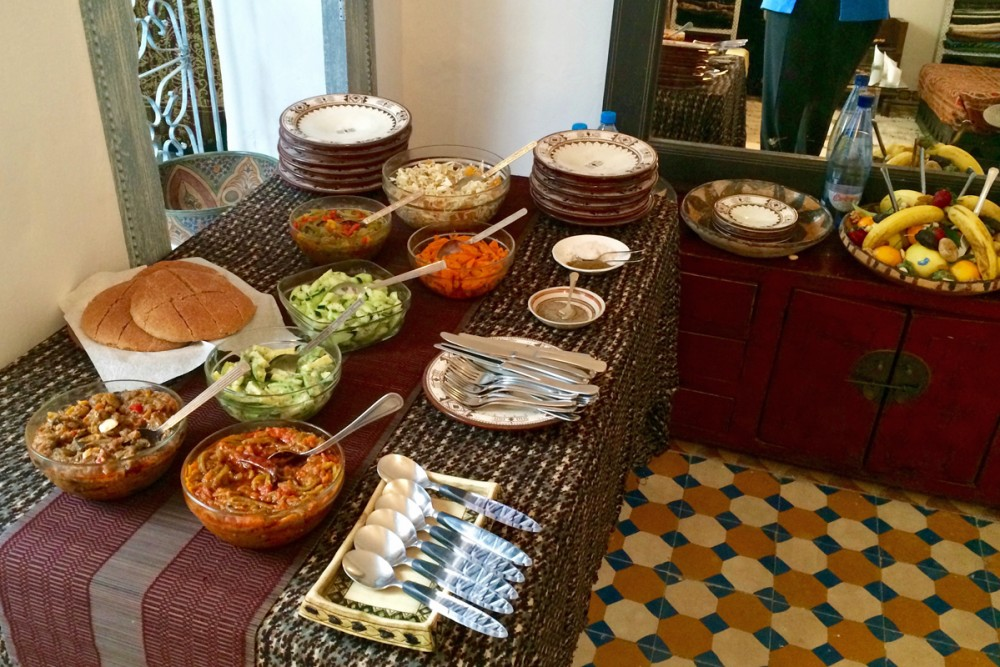 Lunch, served in Nawal's studio, began with an array of homemade salads and mezzes