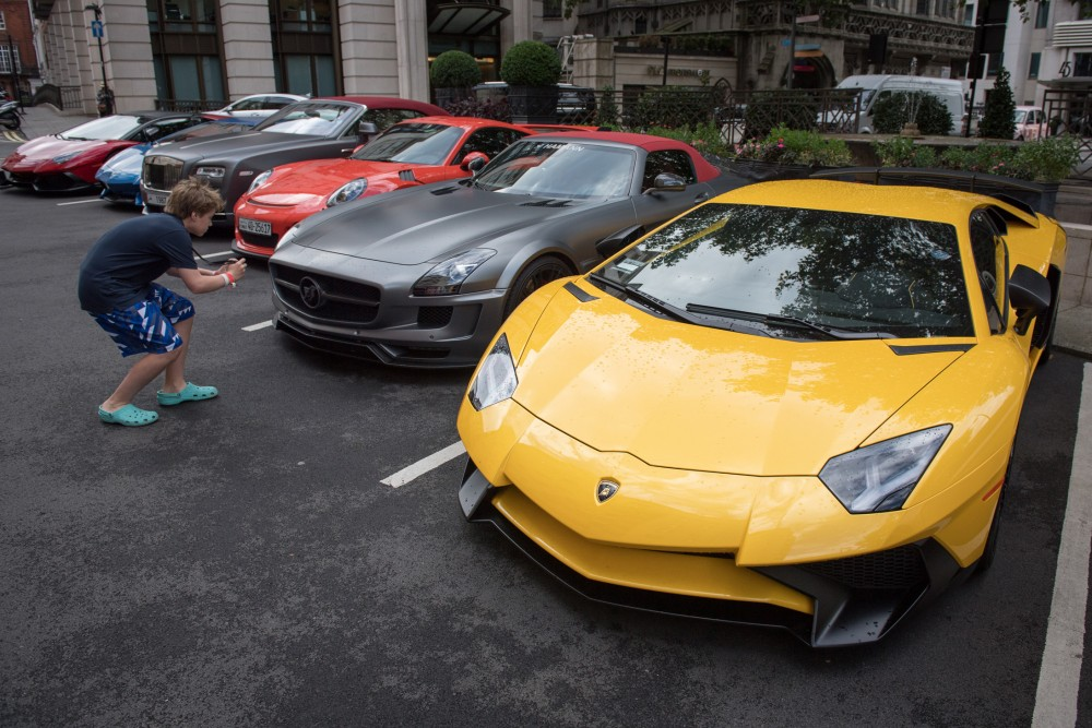 Lamborghini, a Mercedes, a Porsche, a Rolls-Royce