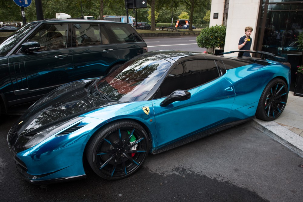 Ferrari 458 wrapped in chrome blue