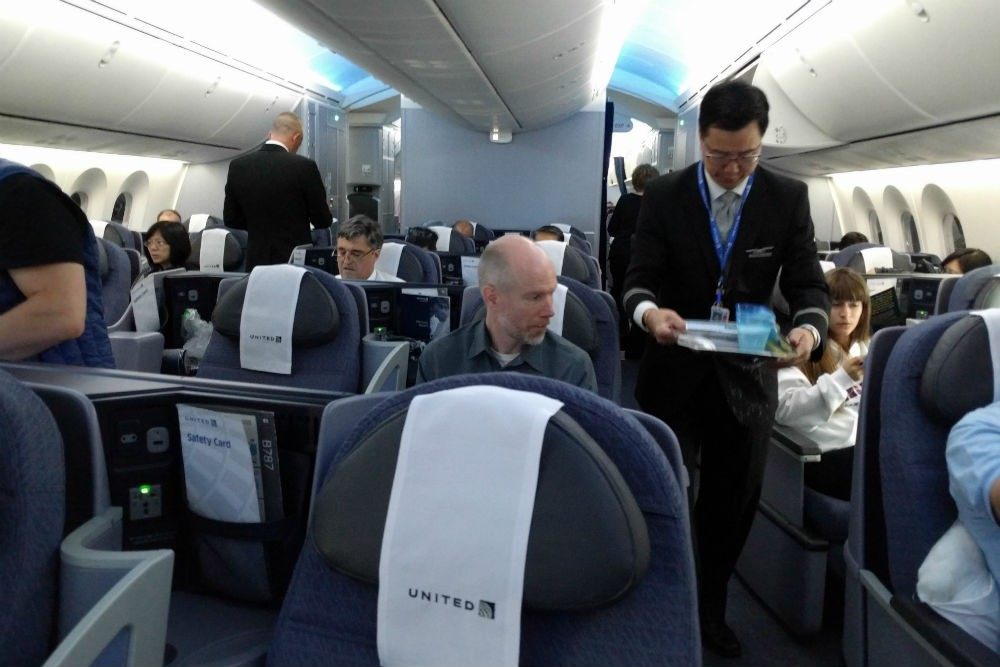 United 787 business first cabin