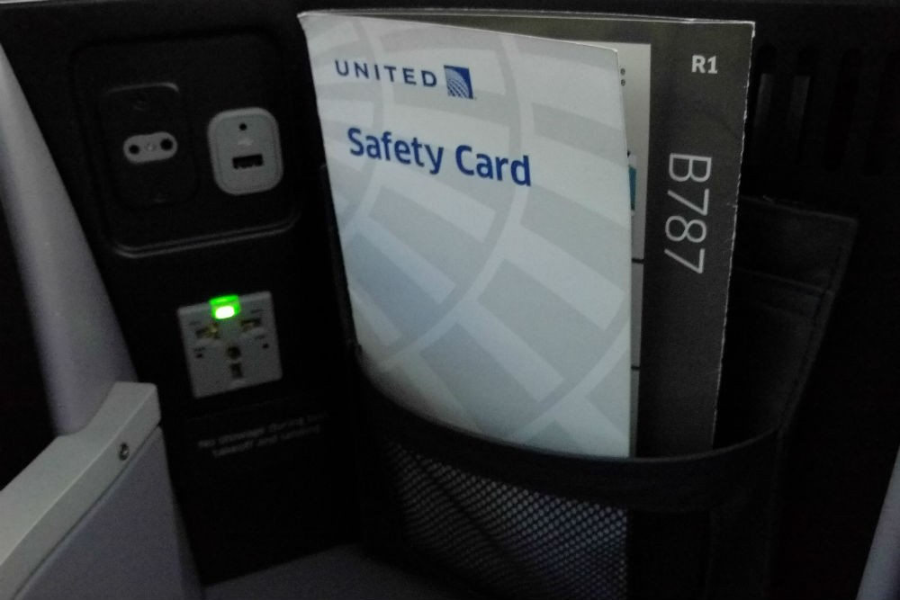 United 787 business first seat power