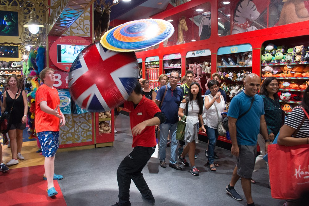 At Hamley's, testing out the toy that ends up grossly overpriced at Harrods.