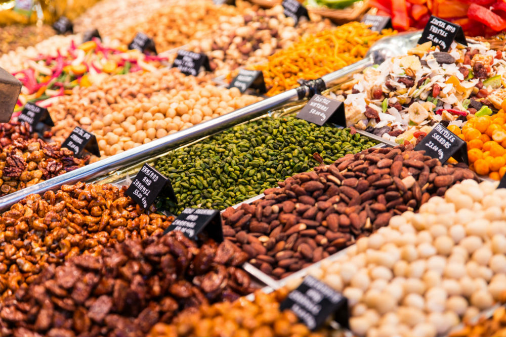 nuts and spices at La Boqueria Market Barcelona Spain
