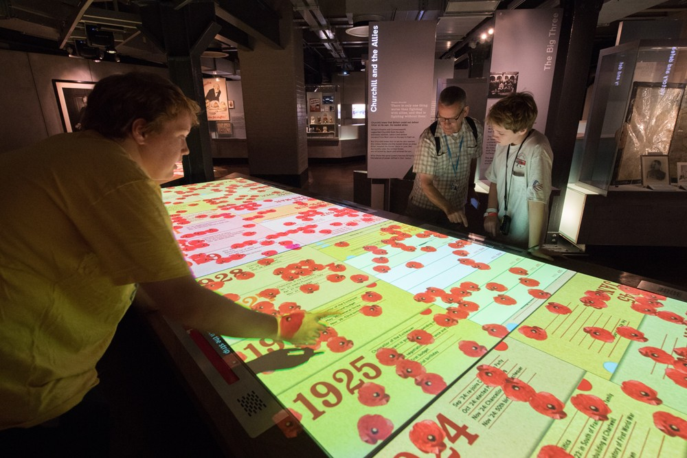 They have a humongous interactive computer that displays a visual timeline of world history during Churchill's life.