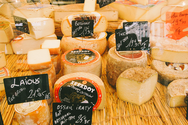 Cheese at the Notre Dame Market in Versailles, France