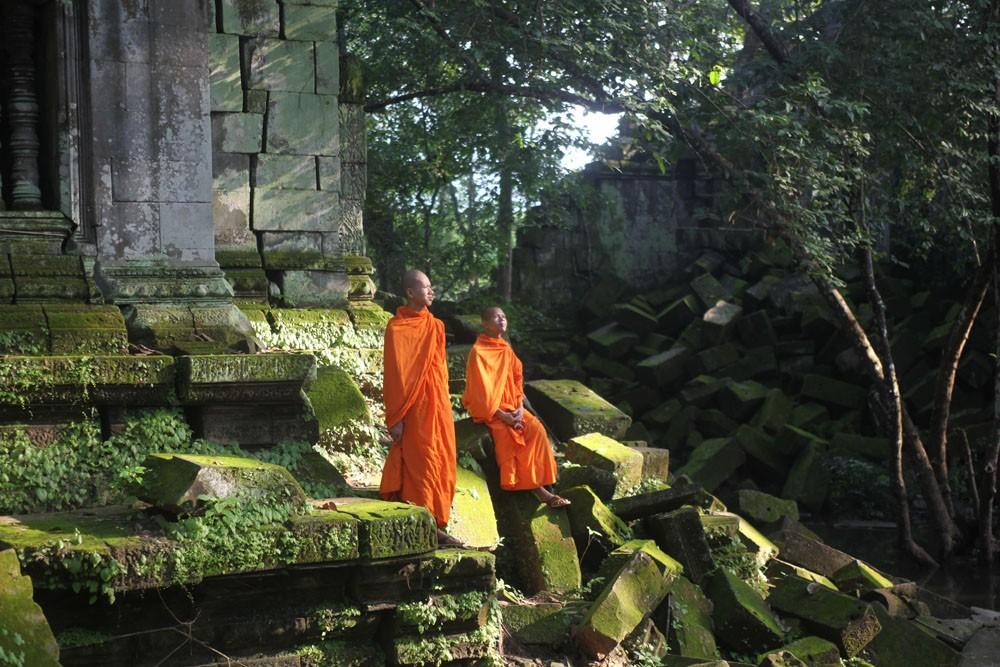Beng Melea monks, Siem Reap, Cambodia.