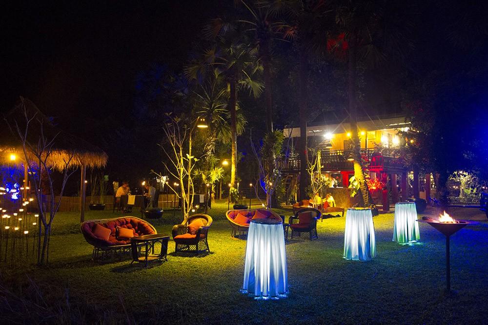 Villa Chandara at night, Siem Reap, Cambodia