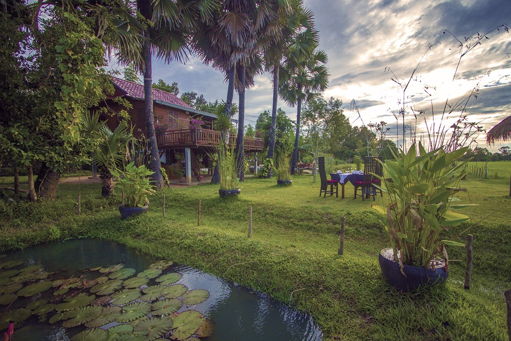Villa Chandara pond and gardens, Siem Reap, Cambodia