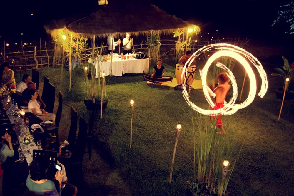 Villa Chandara private circus performance, Siem Reap, Cambodia.
