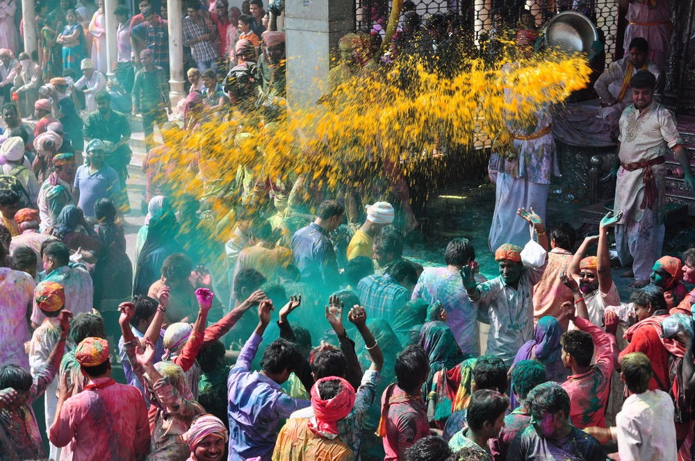 Holi Festival at Nandgaon temple complex, Uttar Pradesh, India