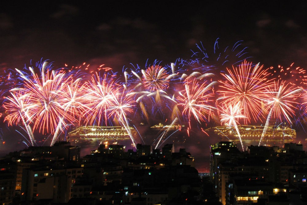 New Years Eve fireworks Reveillon Copacabana beach, Rio, Brazil