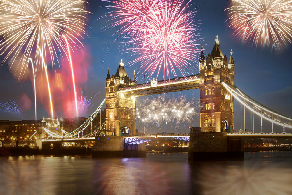 Fireworks over London's Tower Bridge on New Year's Eve