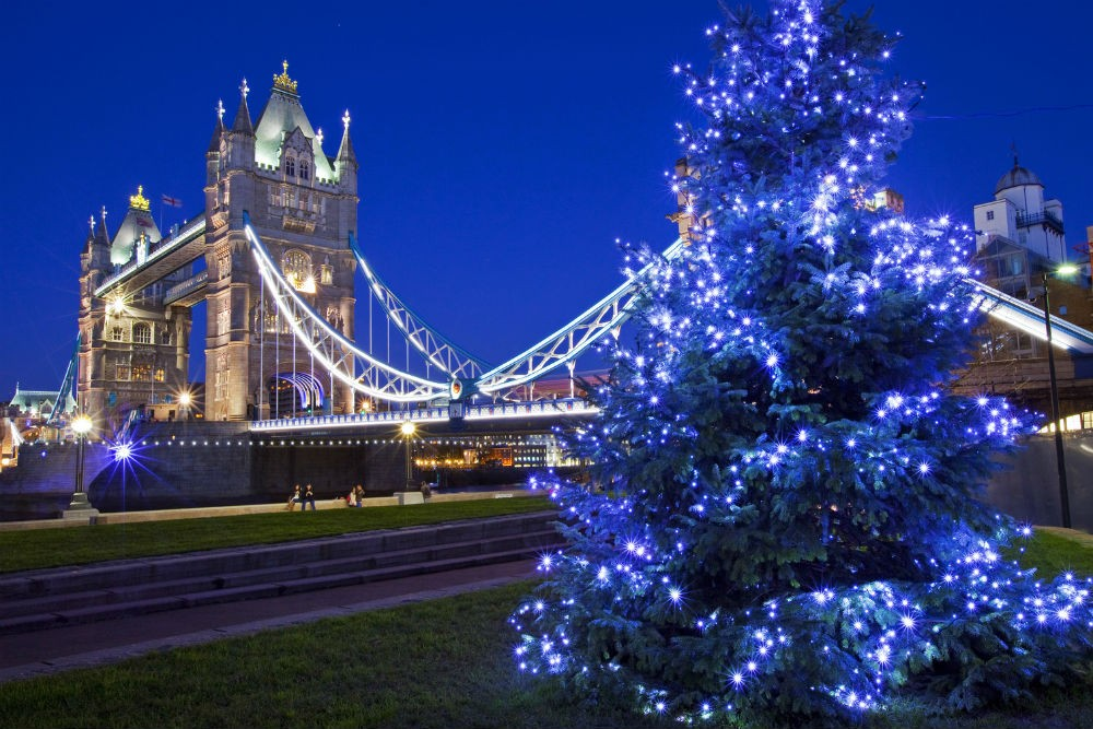christmas tree by London Tower Bridge