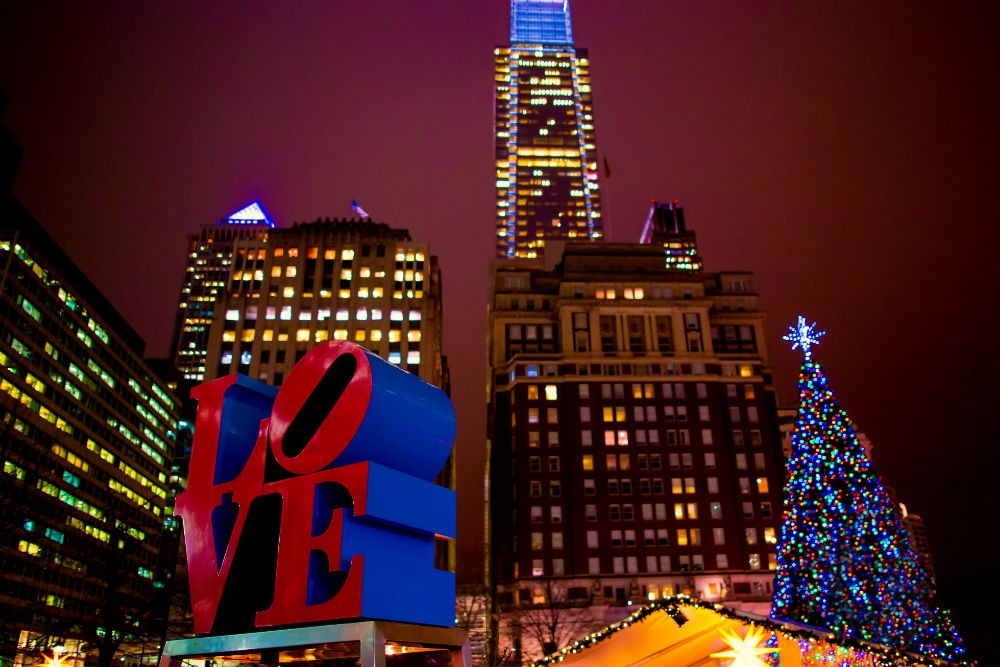 Christmas tree in Love Park, Philadelphia