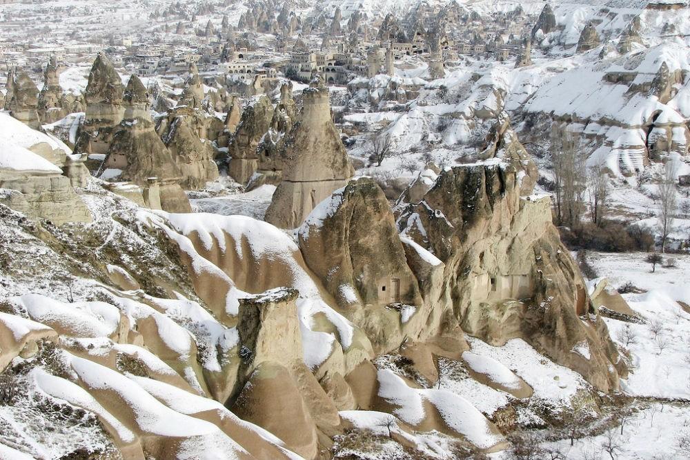 Snow in Cappadocia, Turkey.