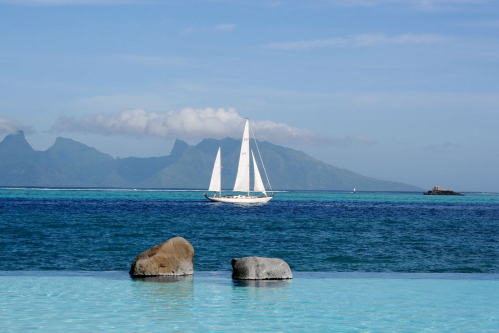 sailboat in the water in Tahiti, French Polynesia