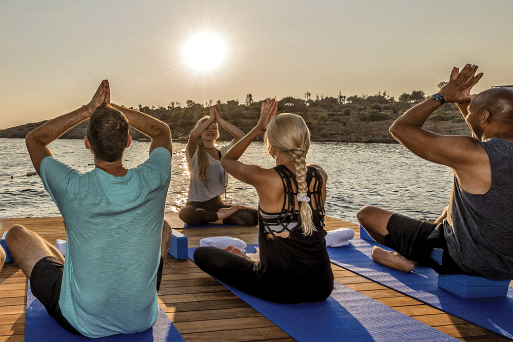 beach yoga Canyon Ranch Wellness Resort at Kaplankaya, Turkey