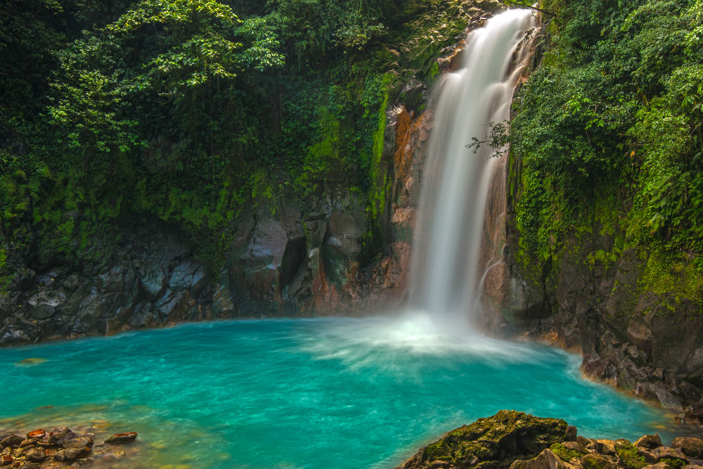 Rio Celeste Waterfall photographed in Costa Rica
