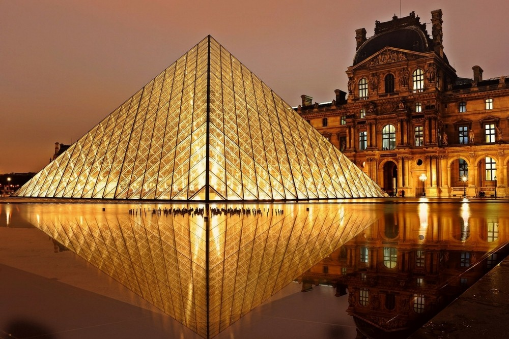 Louvre Museum at night, Paris