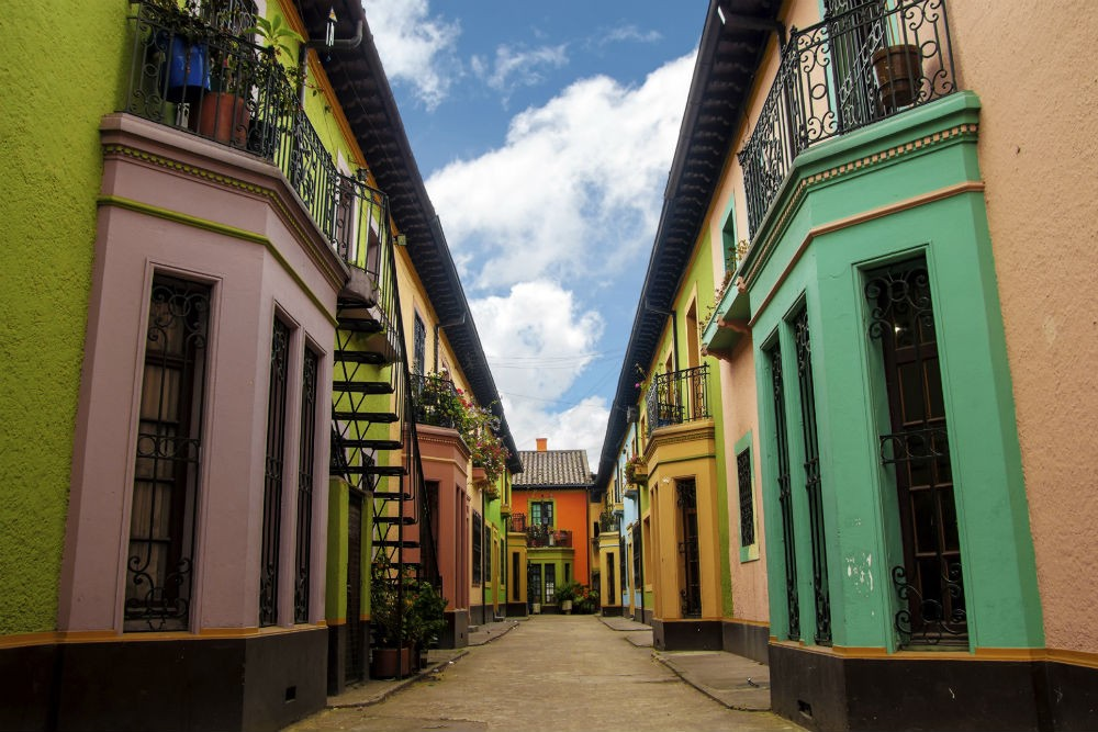 Historic colorful buildings in Bogota, Colombia
