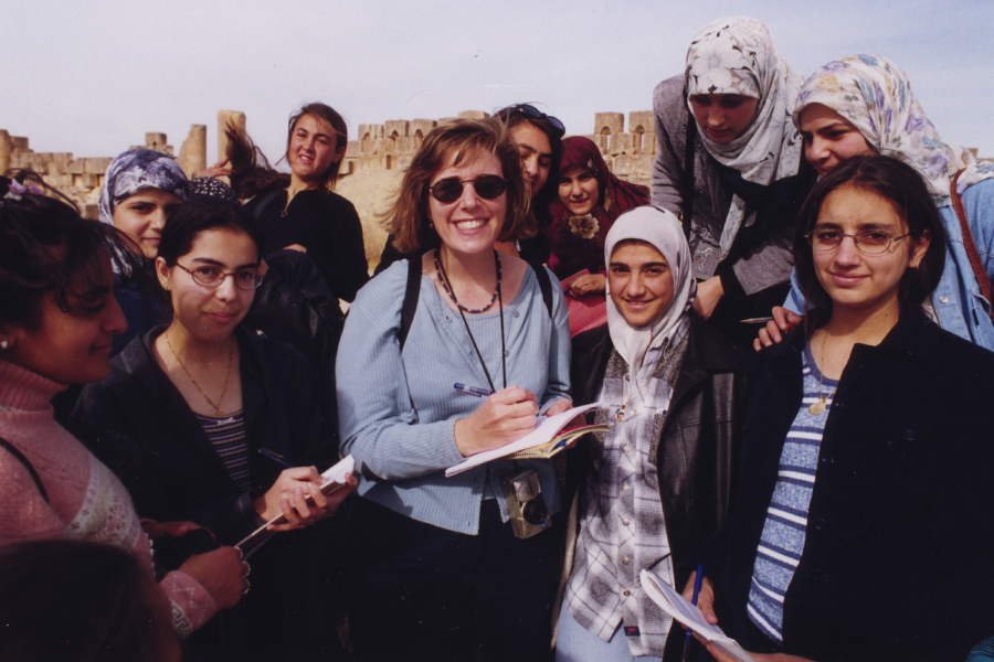 Wendy making friends at the ancient Phoenician city of Baalbek in Lebanon