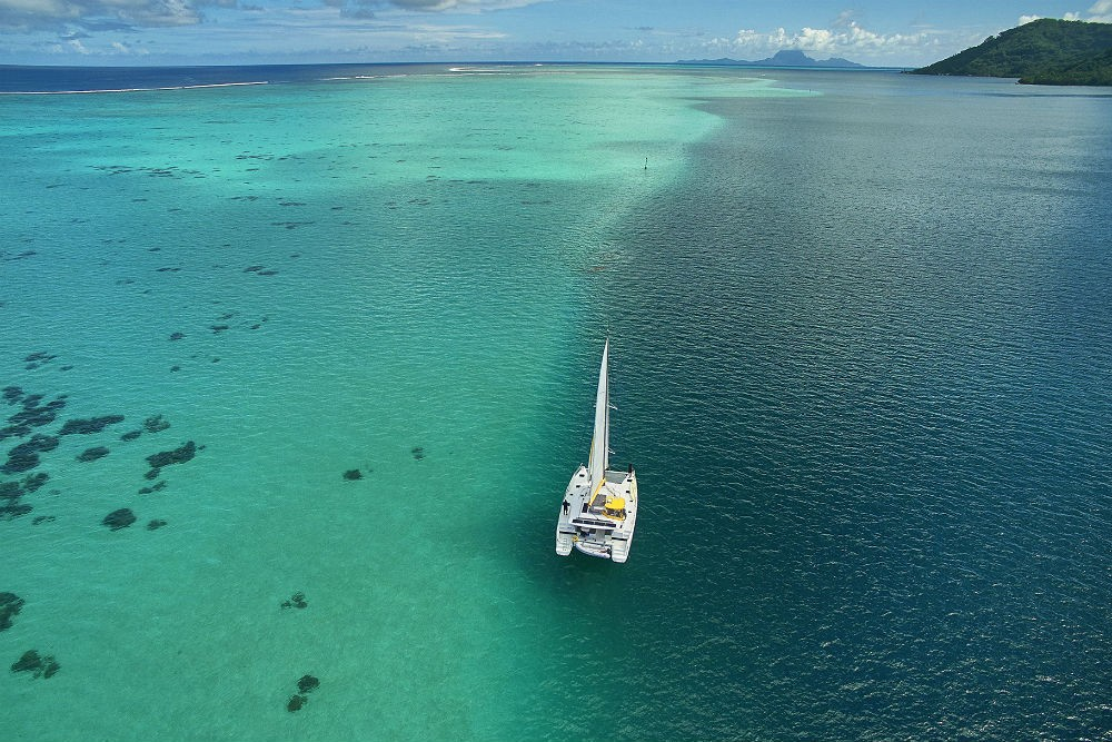 private yacht floating in Tahiti French Polynesia