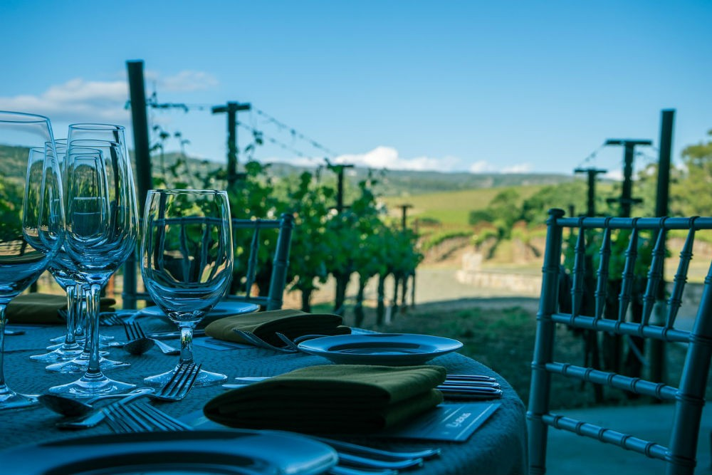 Dinner table in a Napa Valley vineyard, California