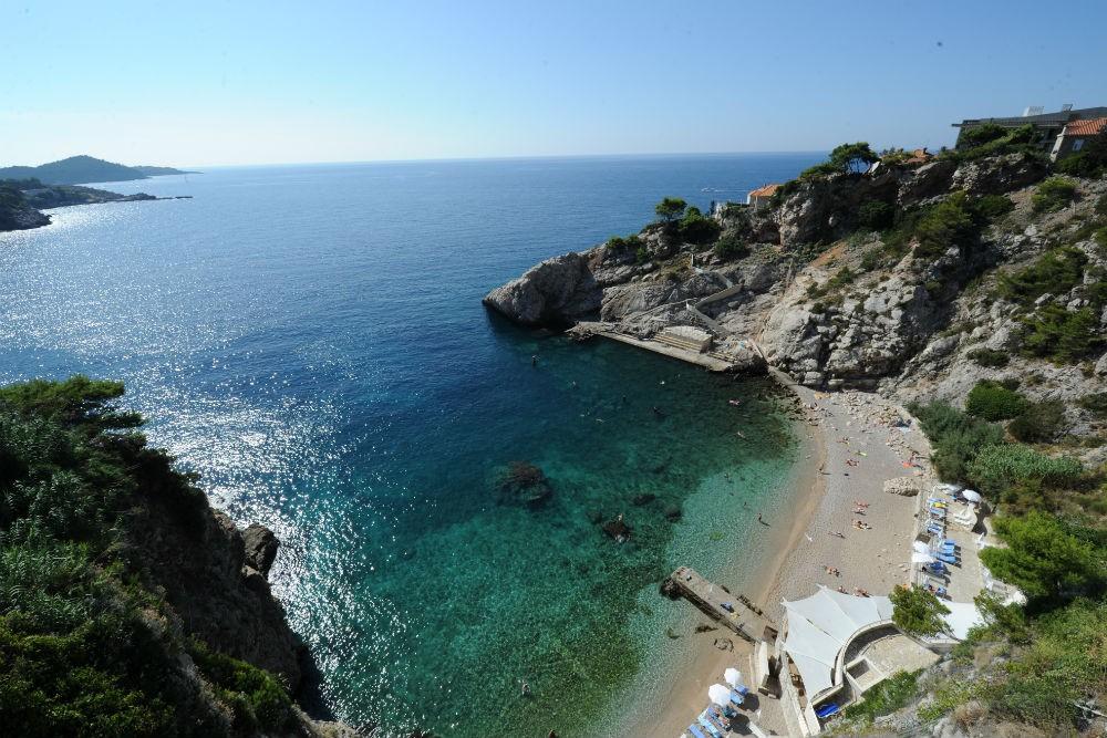 The beach at the Bellevue Hotel in Dubrovnik, Croatia