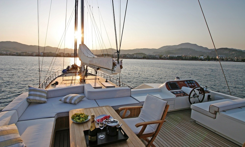 view from a wooden gulet boat on Turkey's Aegean Coast