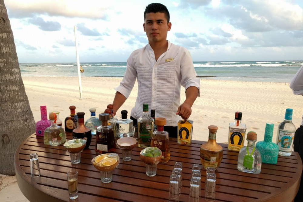taco and tequila tasting on the beach at Grand Velas Riviera Maya Mexico