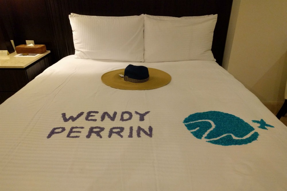 colored rice in shape of WendyPerrin.com logo at grand velas riviera maya hotel Mexico