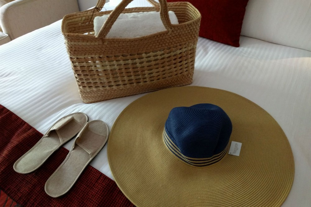 Grand Velas Riviera Maya hat and basket Mexico