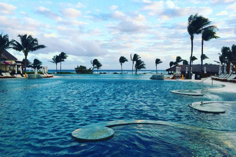 pool view at the Grand Velas RIviera Maya resort mexico