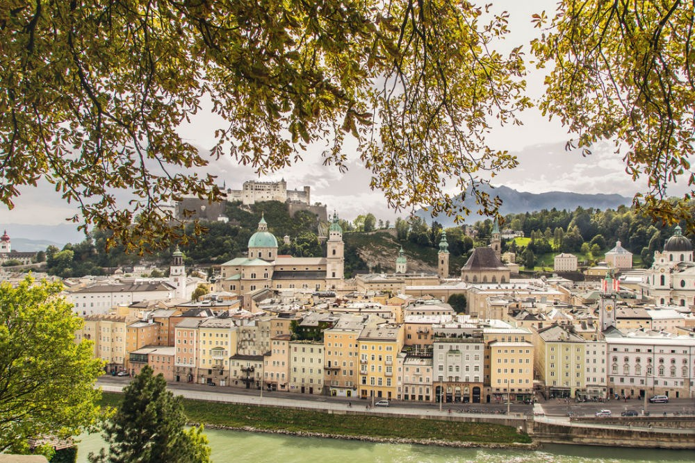 Salzburg, Austria skyline with buildings and mountains