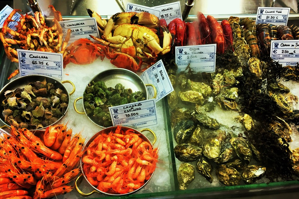 Seafood, Lisbon, Portugal. Photo: Mike Korn