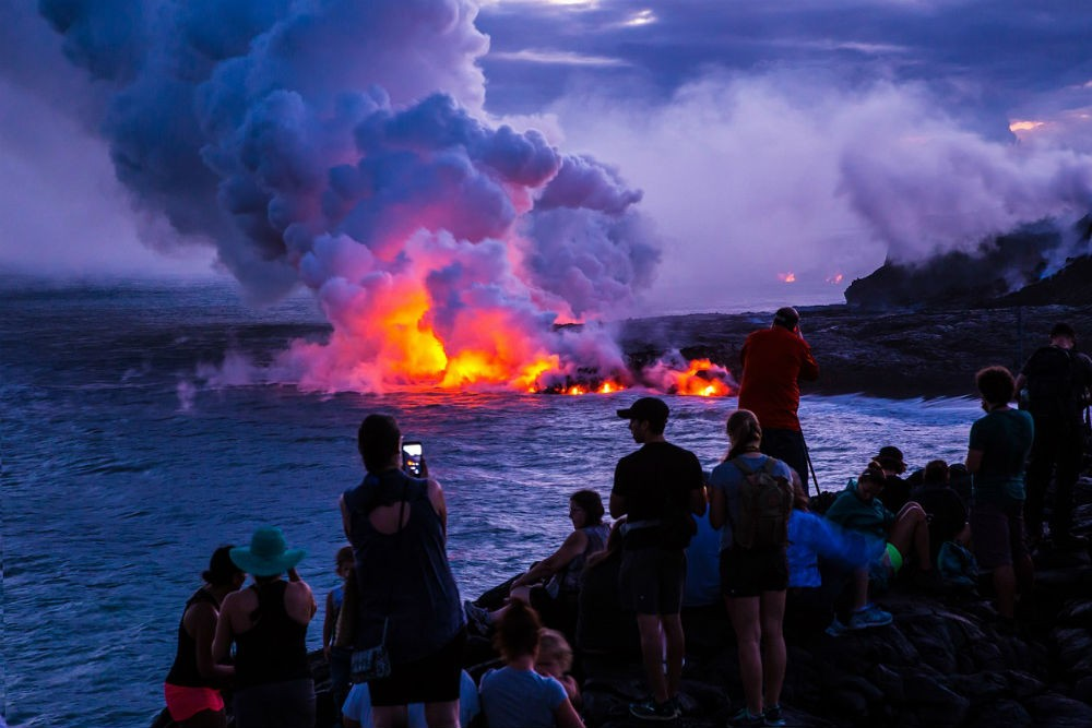 volcano erupting in Volcanoes National Park, Hawaii