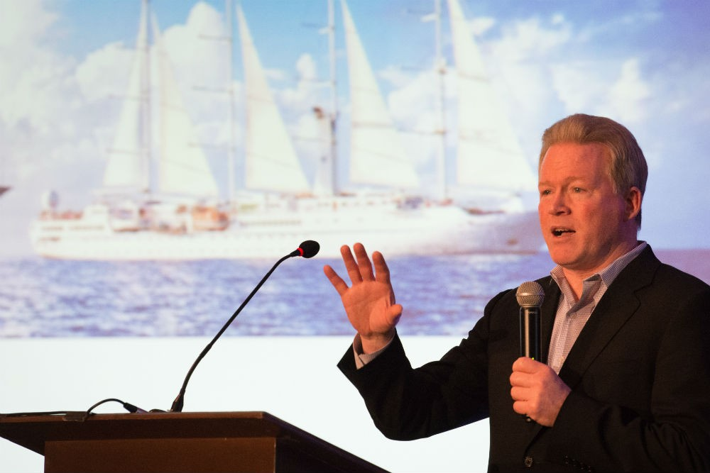 Windstar president John Delaney speaks at the 2017 WendyPerrin.com Global Travel Summit